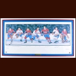 Montreal Canadiens Limited Edition Lithograph - Autographed By 7 Hall of Famers - Matted and Framed