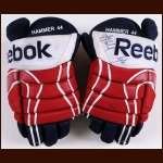 Roman Hamrlik Washington Capitals Red, White & Blue Reebok Game Worn Gloves – Autographed