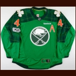 2016-17 Josh Gorges Buffalo Sabres Pre-Game Skate Worn Jersey – St. Patrick's Day – Team Letter