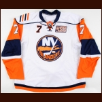 "2007-08 Trent Hunter New York Islanders Game Worn Jersey – ""Al Arbour #1500"" – Team Letter"